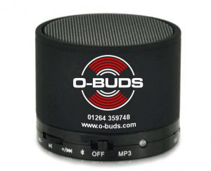 Black metal BT Speaker with o-buds logo